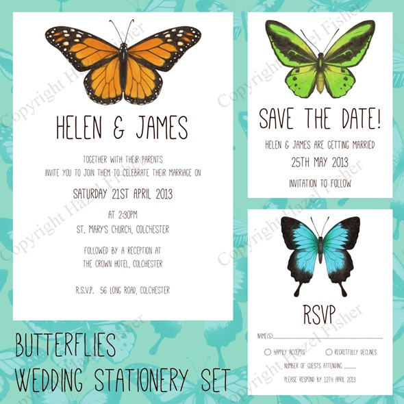 butterflies printable wedding stationery set 1