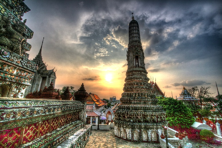 Wat Arun temple sunset Bangkok Thailand