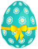 Sky_Blue_Easter_Egg_with_Flowers_and_Yellow_Bow_PNG_Picture