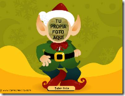 postal Navidad de un Elfo saltarín con tu cara