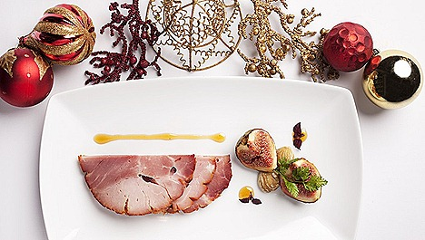 The Halia Restaurant 1 Cluny Road, Ginger Garden Singapore Botanic Gardens Honey-baked Kurobuta ham, shaved fresh chestnut, caramelised fig and white balsamic dressing infused with star anise