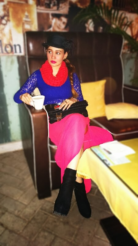 Cobalt Blue Lace Crop Top, Pink Sheer Maxi Skirt,Infinity Scarf