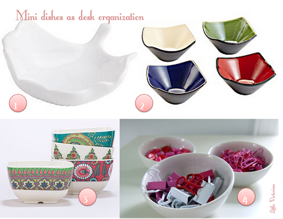 Mini dishes as home office organization {Little Victorian}