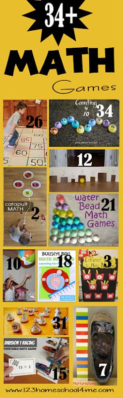 34+ Math Games for Kids - LOTS of fun, creative and unique math activities for kids preschool, prek, kindergarten, first grade, 2nd grade, 3rd grade. Perfect for summer learning, math practice, to achieve math fluency
