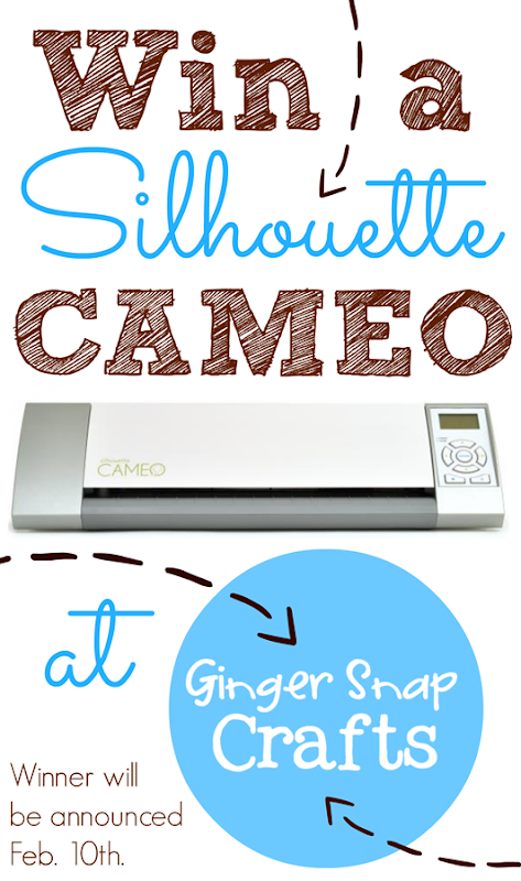 Win a Silhouette Cameo at GingerSnapCrafts.com Winner will be announced on Feb. 10th. #Silhouette #spon