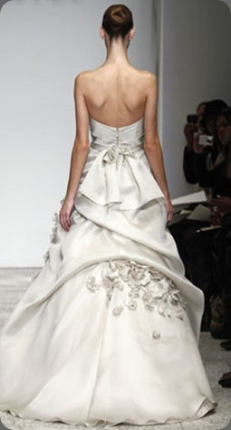 wedding dress poemeb Silk Satin-Faced Organza. Strapless organza gown with sweetheart neckline, full skirt with draping and scattered flower petals. Available in Oyster as shown christos