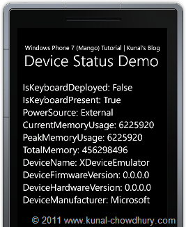 Device Status Demo using Windows Phone 7.1 (Mango) Emulator