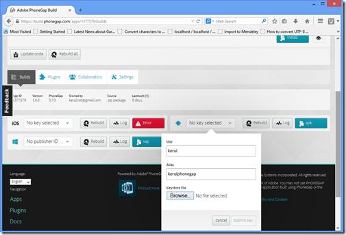 kerul net: build phonegap com to generate signed APK