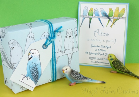 2013April10 Budgie printable invitation gift wrap and tag
