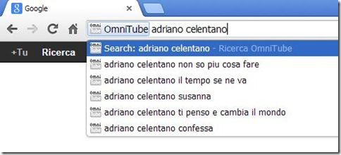 OmniTube cercare video YouTube dalla barra indirizzi di Chrome