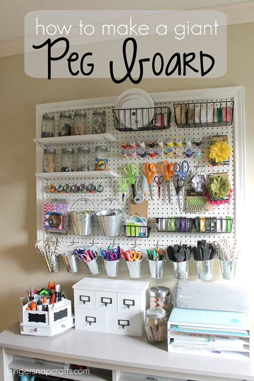 How to Make a Giant Peg Board at GingerSnapCrafts.com #gingersnapcrafts #craft #storage