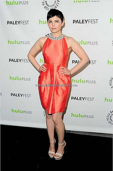 GINNIFER GOODWIN DRESS 2013 RAOUL SPRING SUMMER HELEN HALTER Fluro Orange Red Carpet gowns shoes stilettos platform heels wedges jacket coat accessories diamond elegant 30TH ANNUAL PALEYFEST William S.Paley Television Beverly Hills