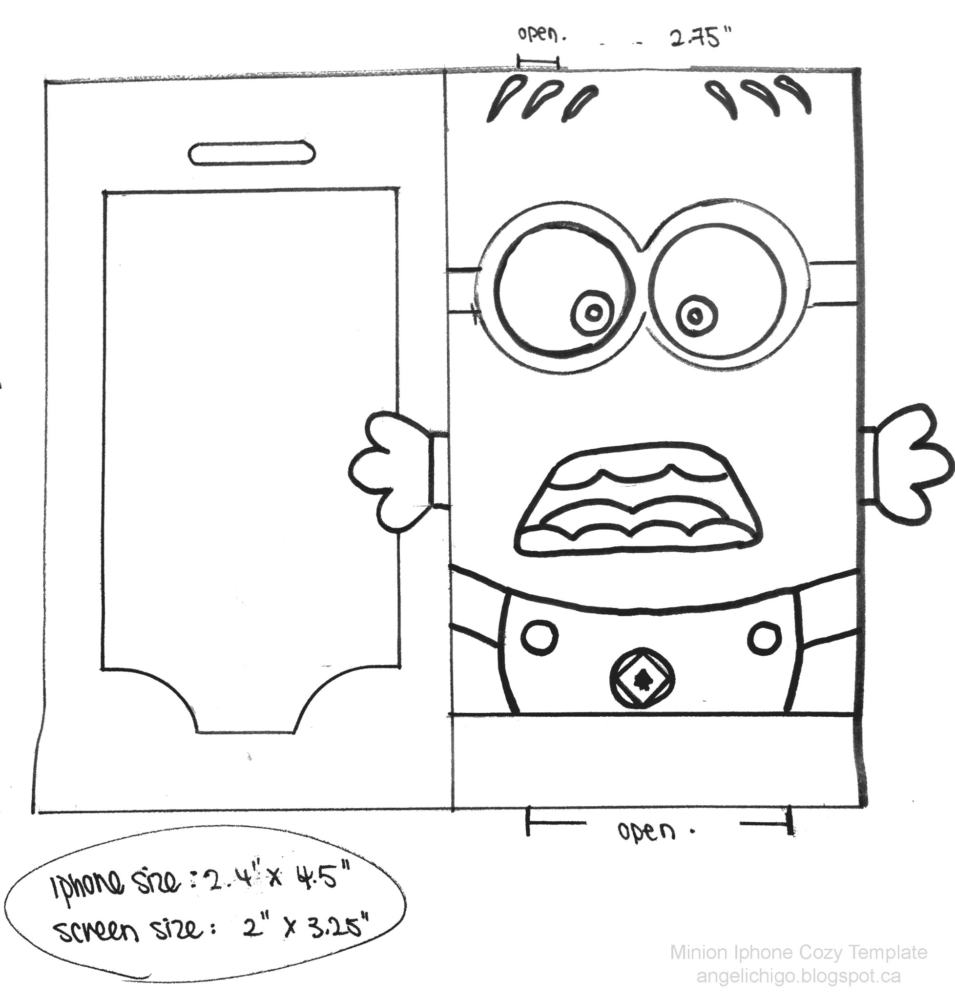 Minion printable template minion+iphone+cozy+template