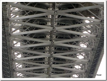 The underside of the Firth of Forth road bridge which is badly overloaded.