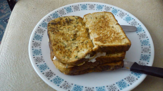Savoury french toast breakfast sandwich