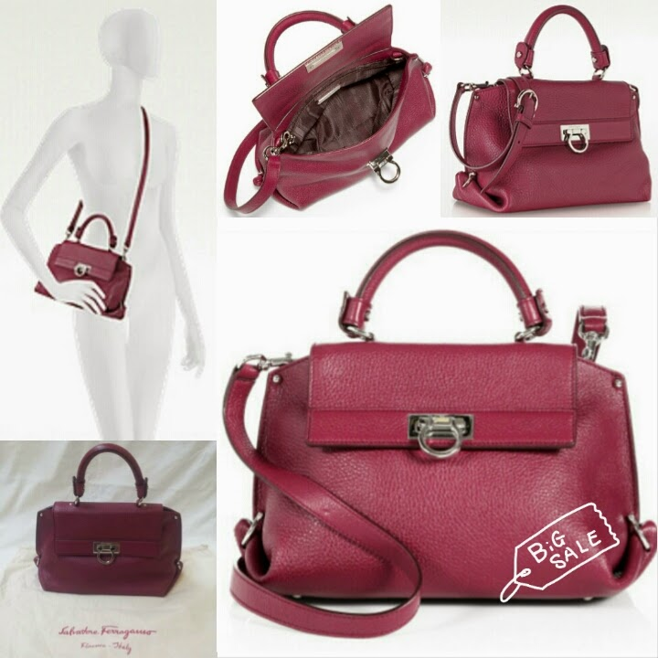 SALVATORE FERRAGAMO SOFIA SMALL GRAINED LEATHER SATCHEL BAG (COLOUR    BURGUNDY) - SHANTEK COLLECTION bd8e2b3afe45b