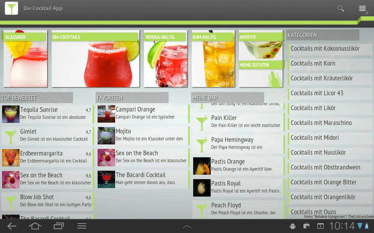 Die Cocktail App- screenshot