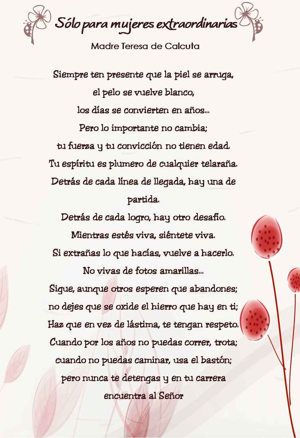 Teresa De Calcuta Poemas