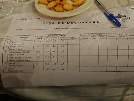 Basarabia - Drumul Vinului: Fisa de degustare Purcari