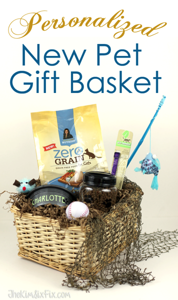 Gather up pet care essentials and create a customized gift basket to celebrate the adoption of a new pet.