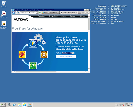 Altova Web page for software downloads from a VM server in the cloud