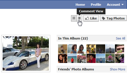 Facebook photo albums now with comment view