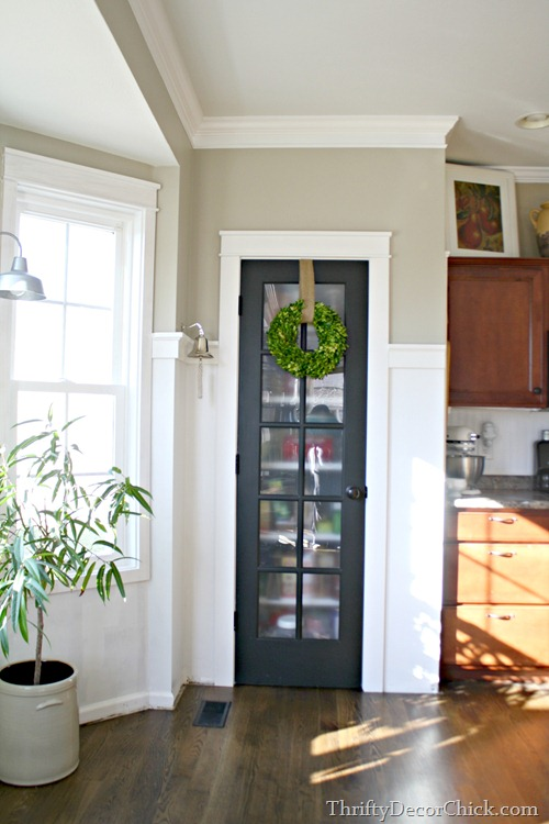 black glass door on pantry