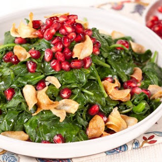 Pomegranate Spinach With Garlic Chips CBC Best Recipes Ever.
