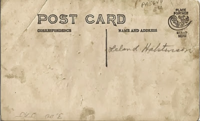 Postcard Leland Halstenson DL Antiques back