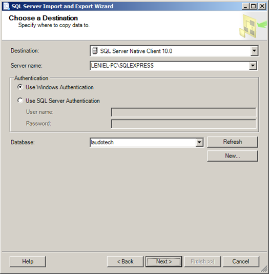 SQL Server Import and Export Wizard - Choose a Destination