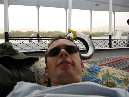 Lying back on the felucca