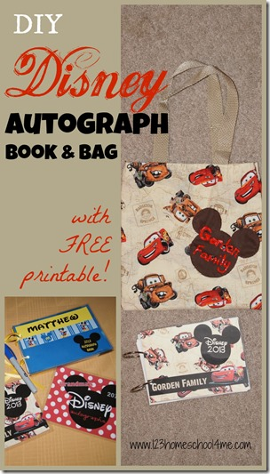 Easy to make Disney Autograph Book and Bag - what a fun thing to make before your next Disney World Vacation. You can customize to whatever character or pattern you like. Makes an amazing Disney souvenir for your next family vacation at walt disney world.