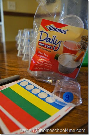 Fun hands on spelling activity with mini cups