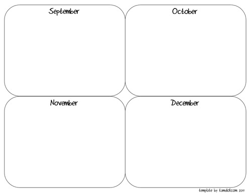 4 month planning template by tamdoll.com