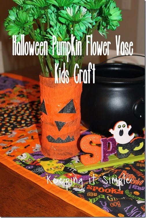 Halloween pumpkin flower vase #kidscraft