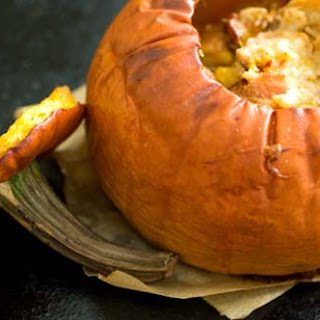 Stuffed Pumpkin With Cheese, Bacon And Chipotle Chiles.