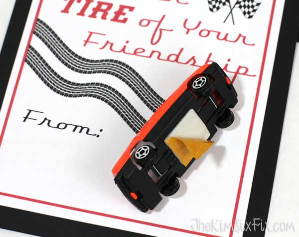 Attaching matchbox car to valentine