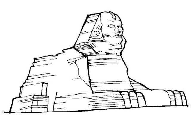Sphinx And Pyramid Coloring Page