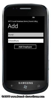 WP7.1 LocalDBDemo - Create Add Page UI