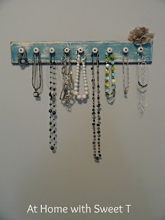 drawer front repurposed to jewelry holder