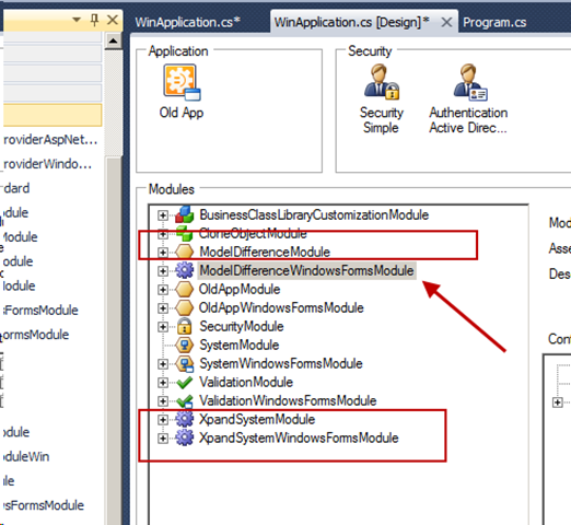 How to use an eXpand module with an existing XAF application | A