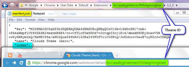 Google Chrome find previously installed theme