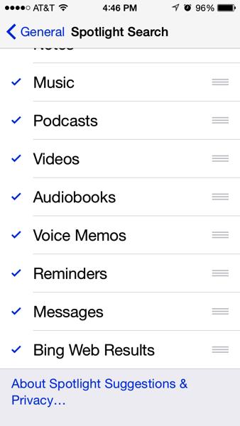Spotlight settings on iPhone