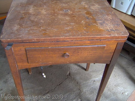 Old Vintage Sewing Machine Cabinet