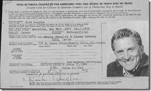 柯克道格拉斯'S 1960 Barazilian移民卡