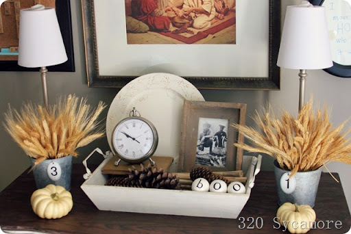 ... fall autumn mantel tabletop & decorating for fall : autumn decorating ideas | 320 * Sycamore