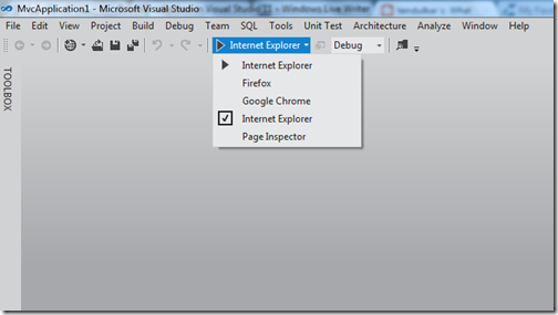 Visual Studio 2011 beta Broswer selection toolbar
