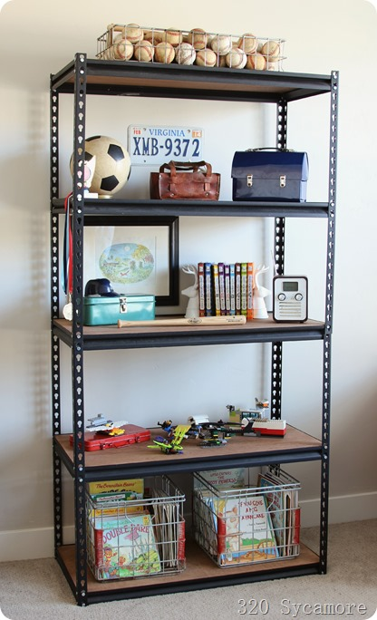industrial shelves boy room