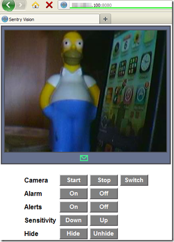 Sentry Vision Security controllo remoto della webcam