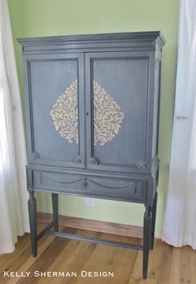 stenciled cabinet
